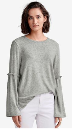 ellos Womens Plus Size Bell Sleeve Sweater