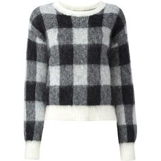 Designers Remix 'Fundy' checked jumper (24795 RSD) ❤ liked on Polyvore featuring tops, sweaters, black, patterned tops, print top, jumpers sweaters, checkered top and checkered sweater