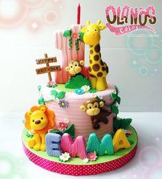 No photo description available. Jungle Birthday Cakes, Jungle Theme Cakes, Toddler Birthday Cakes, Animal Birthday Cakes, Safari Cakes, Animal Cakes, First Birthday Cakes, Birthday Cake Girls, Zoo Cake