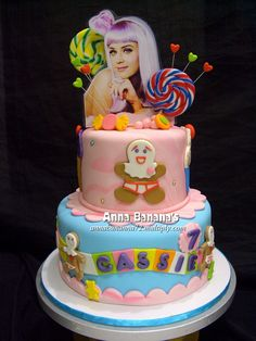 """Inspired by Katy Perry's """"California Girls"""" music video this Candyland type cake is spot on!!"""