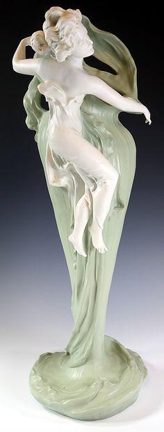 Museum Quality German Jasperware Art Nouveau Vase VOLKSTEDT.  My favorite!