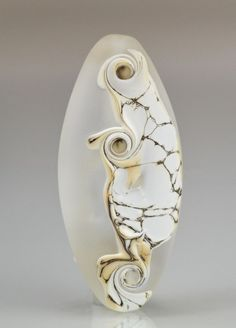 Etched Silvered Ivory Lampwork Focal Bead