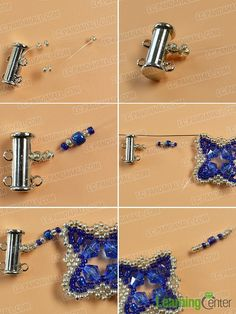 make the eighth part of the blue glass and seed bead bracelet