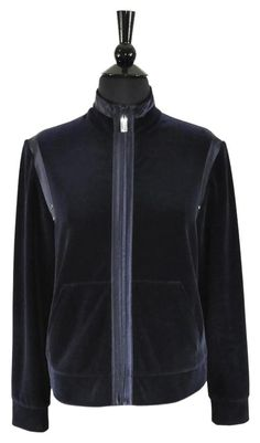 54afb9ca3d0a St. John Front Zip Velvet Navy Blue Jacket Size Petite / P. Available at