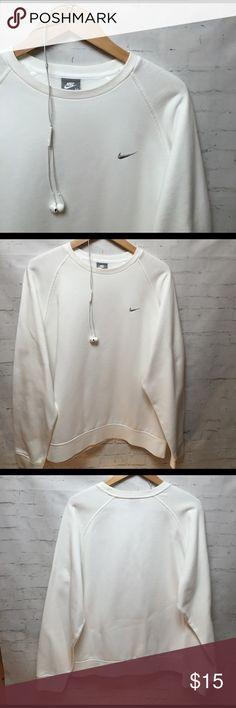 NIKE Sweatshirt NIKE Sweatshirt..White w/Gray swoosh ... Great condition! 80% cotton 20% polyester sweatshirt! Nike Tops Sweatshirts & Hoodies
