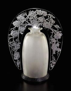 ♔ Bottles & Boxes ♔ perfume, pill, snuff, cigarette cases & decorative containers - Art Nouveau Perfume Bottle With Cut Floral Motif Stopper - Rene Lalique | JV