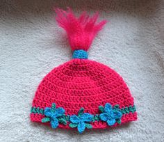 Princess Poppy Inspired Hat, Princess Troll Hat, Pink Troll Beanie, Crochet Poppy Hat by MyCreativeMuse on Etsy