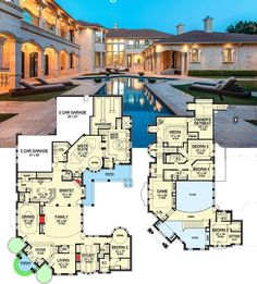 Plan Two-Story Master Retreat Architectural Designs Luxury House Plan gives you this outdoor paradise and almost sq. of indoor space to enjoy. Where do YOU want to build House Plans Mansion, Luxury House Plans, Dream House Plans, Modern House Plans, House Floor Plans, My Dream Home, Luxury Floor Plans, Luxury Houses, Floor Plans