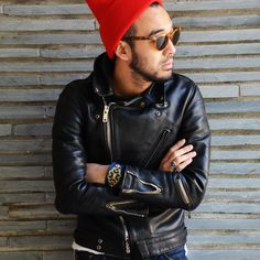 Red beanie moto jacket & sunglasses fall ready!!