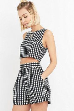 Urban Renewal Vintage Remnants Black Gingham Co-Ord Top Short Outfits, Summer Outfits, Casual Outfits, Cute Outfits, Diy Fashion, Ideias Fashion, Fashion Outfits, Womens Fashion, Teen Fashion