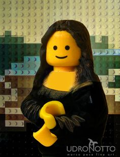 Mona Lisa has never looked happier ;) Marco Pece is an Italian photographer with a fascination with Legos. An art lover himself, his recent work recreates famous paintings in perfect detail, using the ubiquitous bricks. This is his Mona Lisa with Lego. Le Sourire De Mona Lisa, Legos, Lego Lego, Lego Painting, Painting Art, Mona Lisa Parody, Brick Art, Lego Worlds, Lego Batman