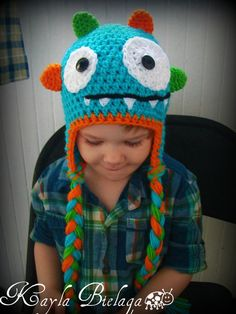 Monster Hat-crochet baby hat-crochet hat-photography prop-babies toddlers kids-bright colorful fun choose your colors