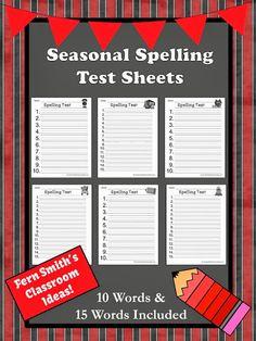 Fern Smith's Printable #FREE Seasonal Blank Spelling Test Sheets #Teacher www.FernSmithsClassroomIdeas.com