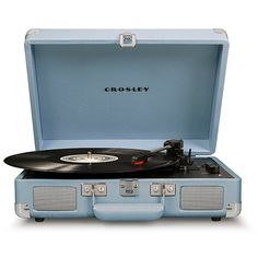 Classic-inspired with a modern update, the Cruiser Deluxe Turntable from Crosley brings quality sound with stereo speakers and three-speed controls. With a headphone jack and Bluetooth compatibility, this music staple is ideal for any music taste. Blue Aesthetic Pastel, Aesthetic Light, Gray Aesthetic, Aesthetic Vintage, Crosley Record Player, Record Players, Home Music, Blue Gray Bedroom, Im Blue