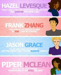 Hazel Levesque, Frank Zhang, Jason Grace, and Piper McLean