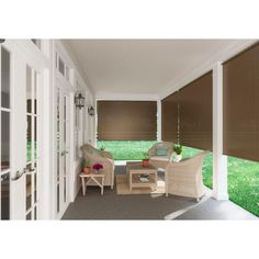Coolaroo Oatmeal Cordless Light Filtering Fade Resistant Fabric Exterior Roller Shade 96 in. W x 72 in. - The Home Depot Porch Shades, Window Sun Shades, Shades Blinds, Outdoor Blinds, Outdoor Shade, Patio Blocks, Roller Shades, Cool House Designs, Home And Family