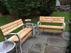 Use the Basics AnySize Bench/Chair Kit to easily create a comfortable chair, bench or loveseat. Simply cut to length and screw them onto the rugged, all-weather frames. Specially designed seat and back provide comfort you never thought possible f Backyard Furniture, Outdoor Furniture, Outdoor Decor, 2x4 Basics, Portable Sheds, Sofa Bench, Bird Houses, Love Seat, House Design