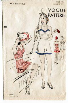 """Vogue 5057. A mon sens, ce serait plutôt de la lingerie qu'un costume de plage. L'une est une combinette (assise) et l'autre un """"tout en un"""" avec la culotte combinée au caraco (debout)"""