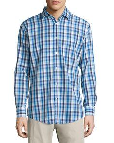 Neiman Marcus Classic Fit Non-Iron Cotton Sport Shirt, Medium Blue Check, Men's, Size: Small