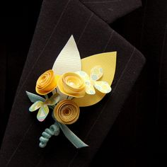 5 Paper Flower Boutonnieres - Pale Yellow and Blue. $40.00, via Etsy.
