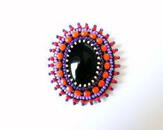 Black Orange Purple Brooch Embroidery Brooch Bead embroidered Brooch Beadwork Brooch Black Onyx Brooch Bright and eye - catching brooch - great addition to your everyday clothing or some special event. Wonderful gift for your loved ones.. Brooch embroidered on felt using fire polished