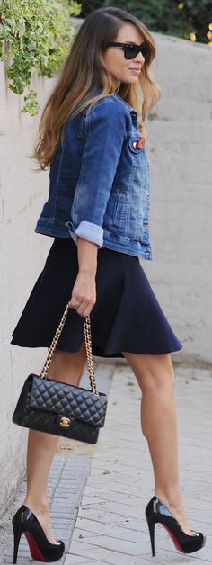 Denim Jacket On L B D Fall Streetstyle Inspo by Necklace Of Pearls