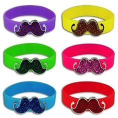 Silicone Bright Colored Sparkly Fun Mustache Bracelets (12 Pack)