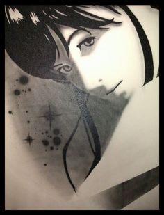 Mural geisha a pincel y spray sombras