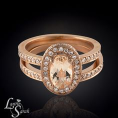 Oval Morganite Engagement Ring Peach by LaurieSarahDesigns on Etsy