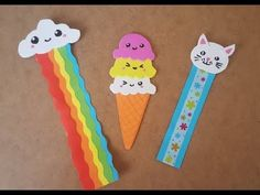 Colorful 3 Different Bookends Bookmarks Diy Kids, Creative Bookmarks, Felt Bookmark, Bookmark Craft, Diy Marque Page, Diy Kawaii, Diy For Kids, Crafts For Kids, Diy And Crafts