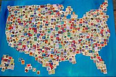 Postage stamp covered map, what a fun idea, stamps are often pretty little works of art showing off the best of the region, would make for a really interesting project