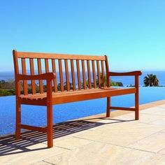 This eco-friendly bench by Nobi looks great in your yard or garden.The five-foot bench is large enough to comfortably fit severalguests at dinner parties. Patio Store, Beach Bungalows, Natural Wood Finish, Garden In The Woods, Furniture Deals, House Furniture, Outdoor Settings, Outdoor Furniture, Outdoor Decor