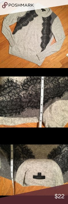 J. Crew Grey Lace Sweater No stains or tears. Minor fuzzing/pilling. Make an offer! J. Crew Sweaters Crew & Scoop Necks