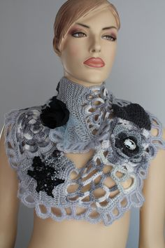 White Grey Black Freeform Knitting Crochet  Scarf - Neck Warmer - Infinity Scarf - Wearable Art / OOAK /  Bohemian Scarf