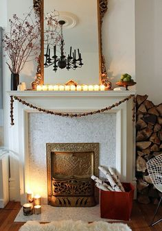 Carrara marble mosaic tile on fireplace surround and hearth. Nice detail on the fireplace.