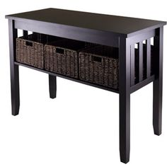 Sectional Sofas Morris Console Table with Baskets Espresso perfect for storage for babies room Diapers