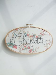 Personalized Vintage Floral Name Sign Embroidery by KingSoleil