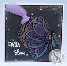 5 x 5 card made using Spectrum Noir Colourista Dark – Designer Tags 2, Spectrum Noir Metallic Pencils – Pink, Violet, Purple, Yellow, Gold, Light Blue, Blue & Green Designed by Marie Jones #crafterscompanion #spectrumnoir #spectrumnoircolorista