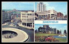 1. 'Hole in the Road' with Pye Bank tower blocks in the distance. 2. Grosvenor Hotel 3. Sheaf Square fountain