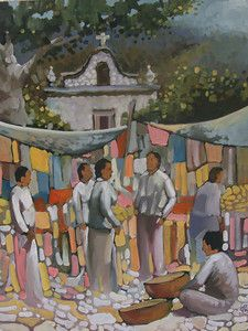 Art by Efren Gonzalez of Ajijic inside his art gallery of the same name  #mexicanart #artemexicano Photographed in Efren's gallery - December 2014 www.mainlymexican... #Mexico #Mexican #lake #church #village #Chapala #Efren #artist #painting #clay