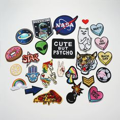 Cute Embroidered Sew On / Iron On Patches Set Badge Bag Fabric Applique Craft Bag Patches, Denim Jacket Patches, Cute Patches, Pin And Patches, Sew On Patches, Iron On Patches, Patches For Jackets, Patch Jeans, Backpack With Pins