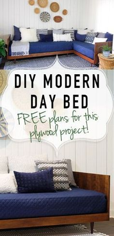 Build this Mid-Century modern daybed from simple building materials and plywood! Free plans! Great DIY design for your home, office, or somewhere else in your house. Great furniture piece!