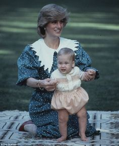 First steps: William in 1983 with his mother Diana, Princess of Wales