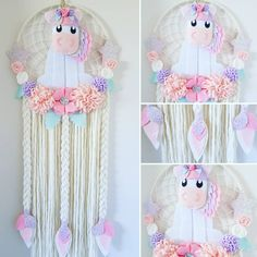 "2 Likes, 1 Comments - Enchanted Felt Shop (@enchanted_felt_shop) on Instagram: ""Unicorn Dream Catcher With pink, purple and cream flowers.  Available now in the etsy shop …"""