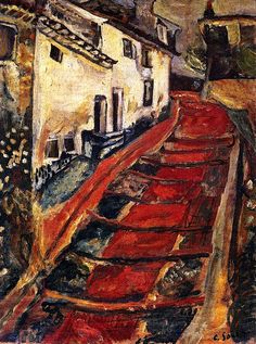 Red Stairway at Cagnes Chaim Soutine - circa 1918