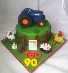 This was personally a very special cake for me as it was for my Dad's birthday. We had one of these tractors on the farm when I was growing up and I was particularly happy that I managed to make it without any support beneath it and the wheels...