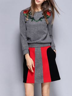 Simple Two Piece Long Sleeve Cotton-blend Embroidered Color Block Mini Dress