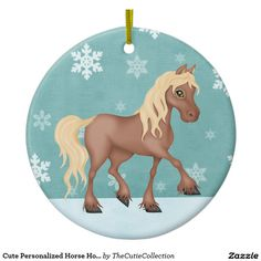 Personalized Cute Brown Horse Christmas Ceramic Ornament  Ornament