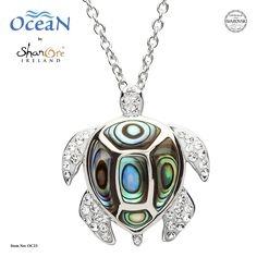The turtle abalone pendant necklace is crafted in Sterling silver and embellished with multi-hued abalone shell and clear and sparkling Swarovski® crystals. Ocean Jewelry, Dolphin Jewelry, Rose Gold Jewelry, Sterling Silver Jewelry, Gold Jewellery, Abalone Jewelry, Marcasite Jewelry, Jewelry Making Classes, Turtle Necklace