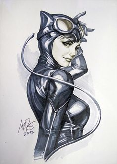 Catwoman analog drawing by Artgerm